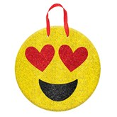 Valentine's Day Emoji Glitter MDF Sign