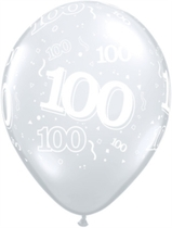 "Diamond Clear Age 100 Latex 11"" Balloons 25pk"