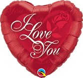 "I Love You Red Rose 18"" Foil Heart Balloon"