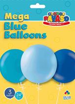 """Blue 2ft (24"""") Latex Balloon Pack 3pk"""