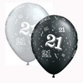 "Black & Silver Age 21 11"" Latex Balloons 25pk"