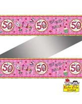 Rachel Ellen Perfect Pink Age 50 Foil Banner