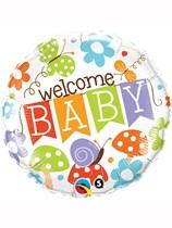 """Welcome Baby Garden Print 18"""" Foil Balloon"""