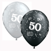 "Assorted Black & Silver Age 50 Latex 11"" Balloons 25pk"