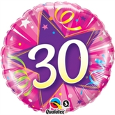 "30 Shining Star Hot Pink 18"" Foil Balloon"