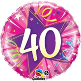 "40 Shining Star Hot Pink 18"" Foil Balloon"