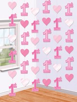 1st Birthday Pink Hanging String Decorations