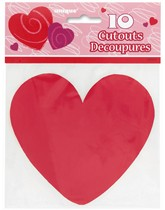 Valentine's Mini Red Heart Cut Outs 10pk