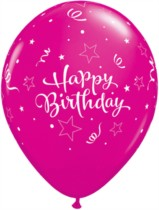 "11"" Wild Berry and Pink Birthday Shining Star Balloons - 25pk"