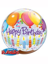 Happy Birthday Balloons & Candles Bubble Balloon 22""