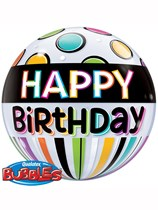 Happy Birthday Stripes & Dots Bubble Balloon 22""