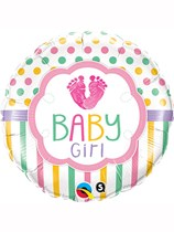 "Baby Girl Footprints 18"" Foil Balloon"