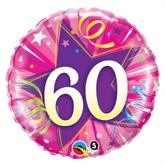 "60th Birthday Shining Star Pink 18"" Foil Balloon"