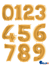 "Gold 26"" Foil Number Balloons"