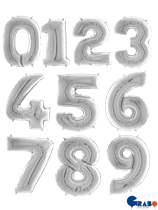 "Silver 26"" Foil Number Balloons"