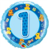 "18"" Blue First Birthday Foil Balloon"
