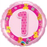 "18"" Pink First Birthday Foil Balloon"