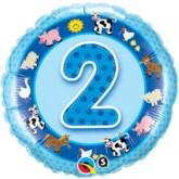 "18"" Blue Second Birthday Foil Balloon"