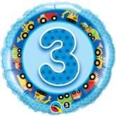 "18"" Blue 3rd Birthday Foil Balloon"