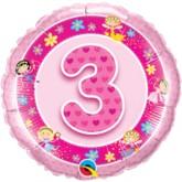 "3rd Birthday Pink 18"" Foil Balloon"
