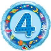 "18"" Blue Fourth Birthday Foil Balloon"