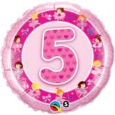 "18"" Pink 5th Birthday Foil Balloon"