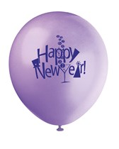 """Happy New Year Assorted Colour 12"""" Latex Balloons 8pk"""