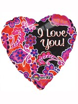 "Valentine's Day I Love You Paisley 21"" Colourblast Foil Balloon"
