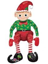"Sitting Christmas Elf Foil Balloon 29"""