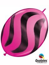 "Wild Berry Wavy Stripes 12"" Quick Link Latex Balloons 50pk"