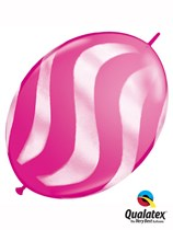 """Wild Berry with White Wavy Stripes 12"""" Quick Link Balloons 50pk"""
