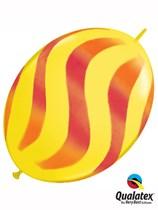 "Orange & Red Wavy Stripes 12"" Yellow Quick Link Balloons 50pk"