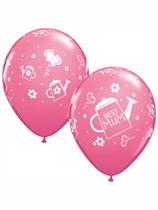 "Best Mum Watering Can 11"" Rose Pink Latex Balloons 6pk"