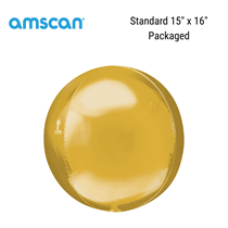 Gold Orbz Foil Balloon Packaged