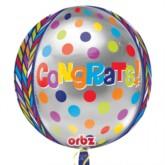 Orbz 'Congrats!' Spotty Multicoloured Balloon