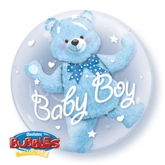 Baby Boy Blue Bear Double Bubble Balloon 24""