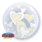 White & Ivory Floating Hearts Double Bubble Balloon 24""
