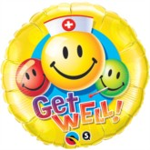 """18"""" Get Well Smiley Face Foil Balloon"""