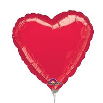 Metallic Red Heart Mini Shape Foil Balloon (air fill)