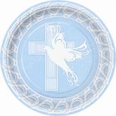 "8 Large Dove Cross Blue 9"" Paper Plates"