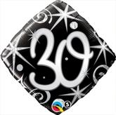 30th Birthday Sparkles & Swirls Diamond Foil Balloon