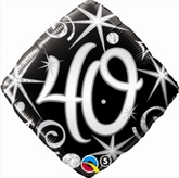 40th Birthday Sparkles & Swirls Diamond Foil Balloon