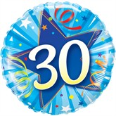 "30th Birthday Bright Blue 18"" Foil Balloon"