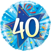 "40th Birthday Shining Star Blue 18"" Foil Balloon"
