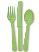 Lime Green Assorted Plastic Cutlery 18pk