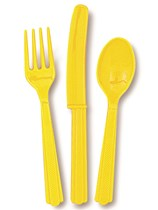 Sunflower Yellow Assorted Plastic Cutlery 18pk