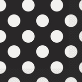 16 Decorative Dots Midnight Black Luncheon Napkins