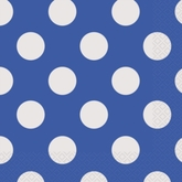 16 Blue Dots Navy Blue Luncheon Napkins