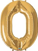 "Number 0 Giant Foil Balloon - Metallic Gold 34"""