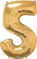"Number 5 Giant Foil Balloon - Metallic Gold 34"""